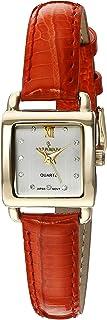 ساعة بيجو للنساء مربعة صغيرة الحجم كريستال ماركر حزام جلد طبيعي