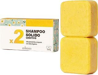Shampoo Solido Bio Lenitivo e Illuminante alla Camomilla, Calendula e Luppolo 130 g per cute sensibile - Enooso - 100% Art...