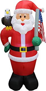 6 Foot Tall Lighted Christmas Inflatable Patriotic Santa Claus with Eagle and American Flag Yard Art Decoration