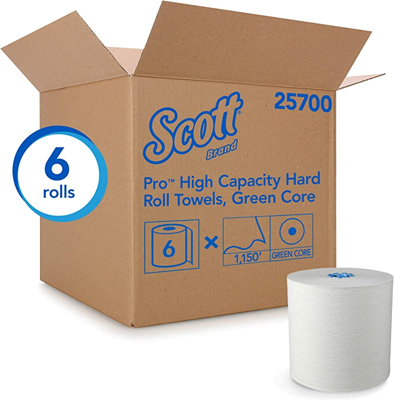 Scott Pro Hard Roll Paper Towels 25700 With Absorbency Pockets For MOD Dispenser Green Colored Core Only 1150 Roll 6 White Rolls Case 6 900 Feet