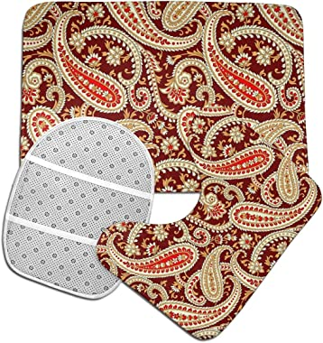 MAHENSHANGM Bath Rug 3 Pack Flannel Bathroom Mats Set U-Shape Contoured Toilet Mat Rugs Lid Cover Soft Non-Slip Floor Toilet Seat Mat Paisley Floral Ethnic red Brown
