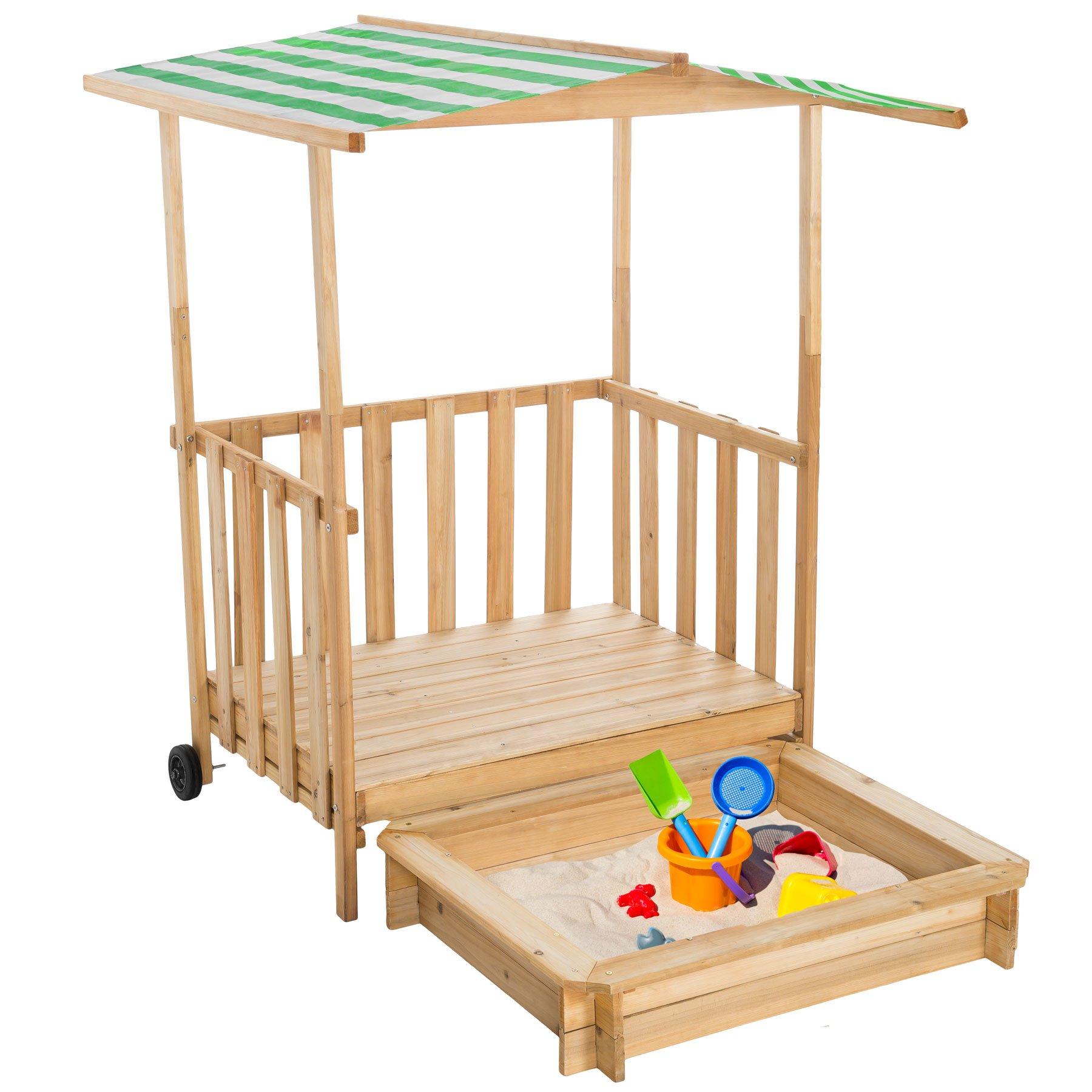 TecTake Arenero con Techo para niños Veranda Madera Protección contra el Sol (Verde| No. 400914): Amazon.es: Juguetes y juegos