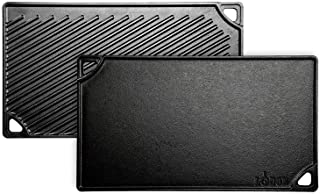 Lodge 42.55 x 24.13 cm / 16.75 x 9.5 inch Pre-Seasoned Cast Iron Rectangular Reversible Grill/Griddle, Black