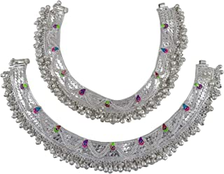 Jewel India Traditional Indian Fashion Bollywood Ethnic Silver Plated Ghungroo Beads Foot Payal Anklets Jewelry for Women Girls