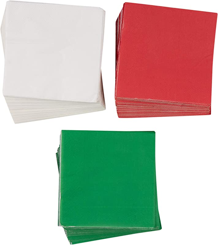 Cocktail Napkins 210 Pack Disposable Paper Napkins Christmas Holidays Dinner Party Supplies 2 Ply 3 Classic Solid Colors Red Green And White Unfolded 10 X 10 Inches Folded 5 X 5 Inches