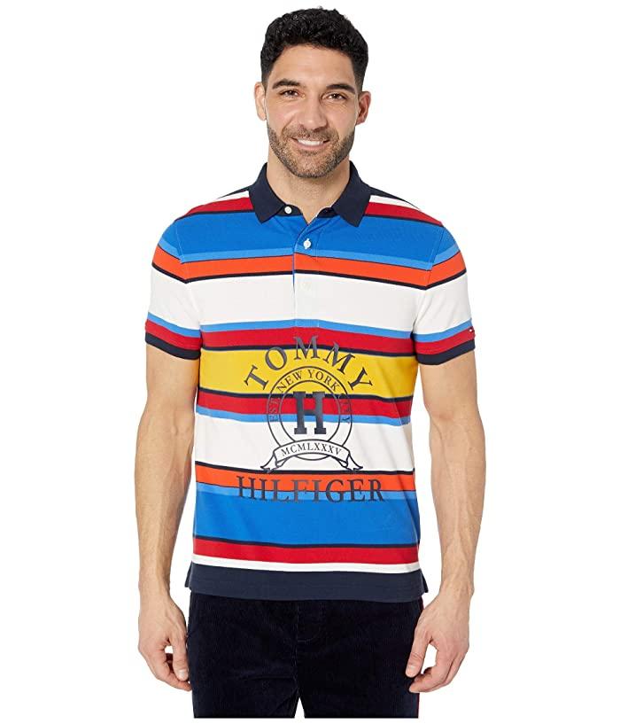 Tommy Hilfiger Adaptive  Polo Shirt with Magnetic Buttons Custom Fit (Sky Captain Multi) Mens Clothing
