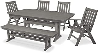 POLYWOOD Vineyard 6-Piece Farmhouse Folding Dining Set with Bench (Slate Grey)