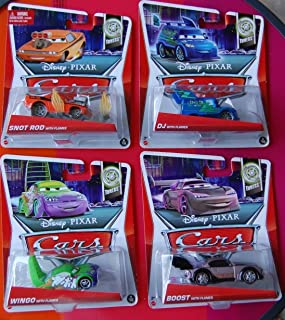 Disney Pixar Cars 1:55 Scale Diecast Set of 4 Cars DJ Flames, Boost Flames, Snot Rod Flames Wingo Flames Tuners Edition by Disney