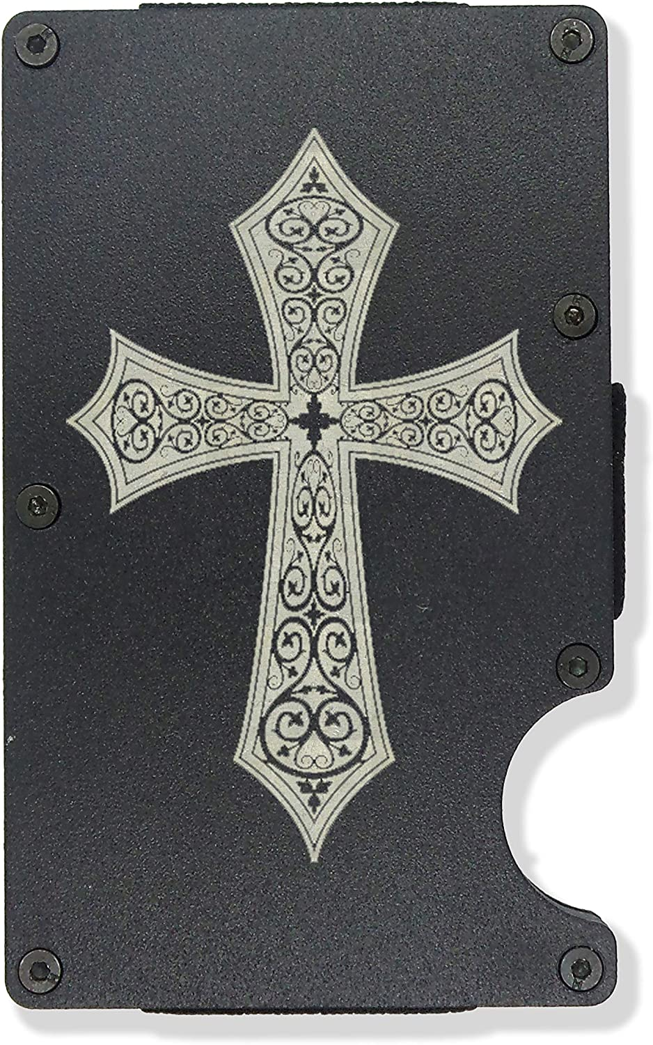Cross Engraved Metal RFID Blocking Tactical Minimalist Wallet w/Money Clip Religious Christian