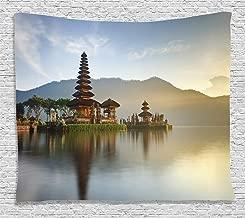 Ambesonne Balinese Tapestry, Pura Ulun Danu Building Panorama Sunrise on Lake Bratan Bali Indonesia Waterscape, Wide Wall Hanging for Bedroom Living Room Dorm, 80
