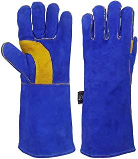 KIM YUAN Extreme Heat/Fire Resistant Gloves Leather with Kevlar Stitching, Mitts Perfect for Welding/Oven/Grill/BBQ/Mig/Fi...
