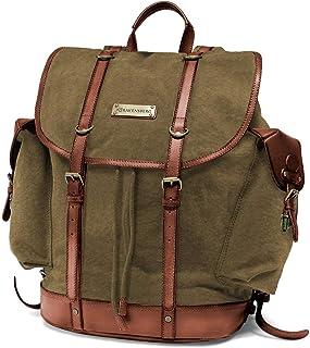 DRAKENSBERG Backpack - Bergsteiger Rucksack im Retro-Vintage-Design mit 13 Laptopfach, handgemacht in Premium-Qualität, 30L, Canvas und Leder, Olivgrün, DR00127