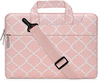 MOSISO Laptop Shoulder Bag Compatible with 15-15.6 Inch MacBook Pro, Ultrabook Netbook Tablet, Canvas Geometric Pattern Protective Briefcase Carrying Handbag Sleeve Case Cover,Pink Quatrefoil