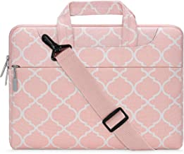 MOSISO Laptop Shoulder Bag Compatible with 15-15.6 inch MacBook Pro, Ultrabook Netbook Tablet, Canvas Geometric Pattern Protective Briefcase Carrying Handbag Sleeve Case Cover, Pink Quatrefoil