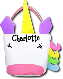 The Trendy Turtle Personalized Unicorn Halloween Candy Basket with Rainbow Accents Birthday Party or Easter Basket Tote Bag Gift Bucket - Your Choice of Free Name