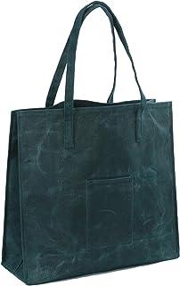 Einkaufstasche aus gewachstem Segeltuch, robust, wasserdicht, Dunkelgrün Large Weicher Stoff.