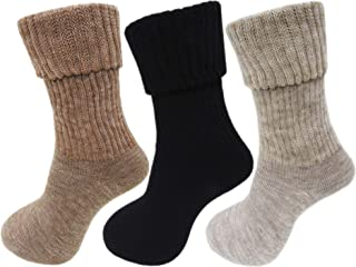 RC. ROYAL CLASS Women's Calf Length Towel Thick Woolen Multicolored Socks (Pack of 3 Pairs)
