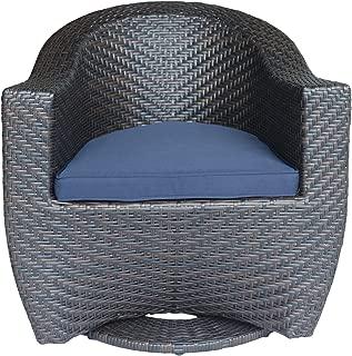 Christopher Knight Home 306023 Koch Outdoor Wicker Swivel Chair, Dark Gray, Multi Brown/Navy