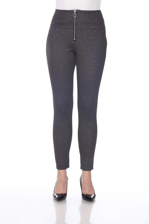 bluee Sunset Women's Grey Front Zipper Mesh Lined Ponte Pant Full Length Leggings