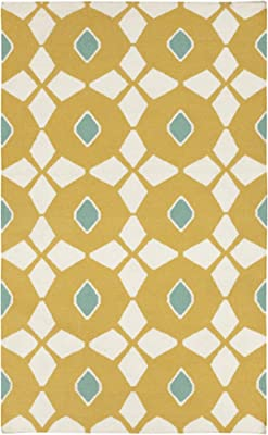 Surya Frontier FT-369 Hand Woven 100-Percent Wool Geometric Area Rug, 8-Feet by 11-Feet