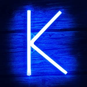 Light up Letters Neon Signs Lights for Bedroom Wall Decor, USB or Battery LED Neon Night Light Wall Decoration for Birthday, Party, Bar, Dorm, Men Cave, Girls, Kids Room Words Blue Letter K