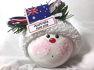 Australia Souvenir Gift Christmas Glass Ornament Australian Flag Hand Painted Handmade Personalized 1479