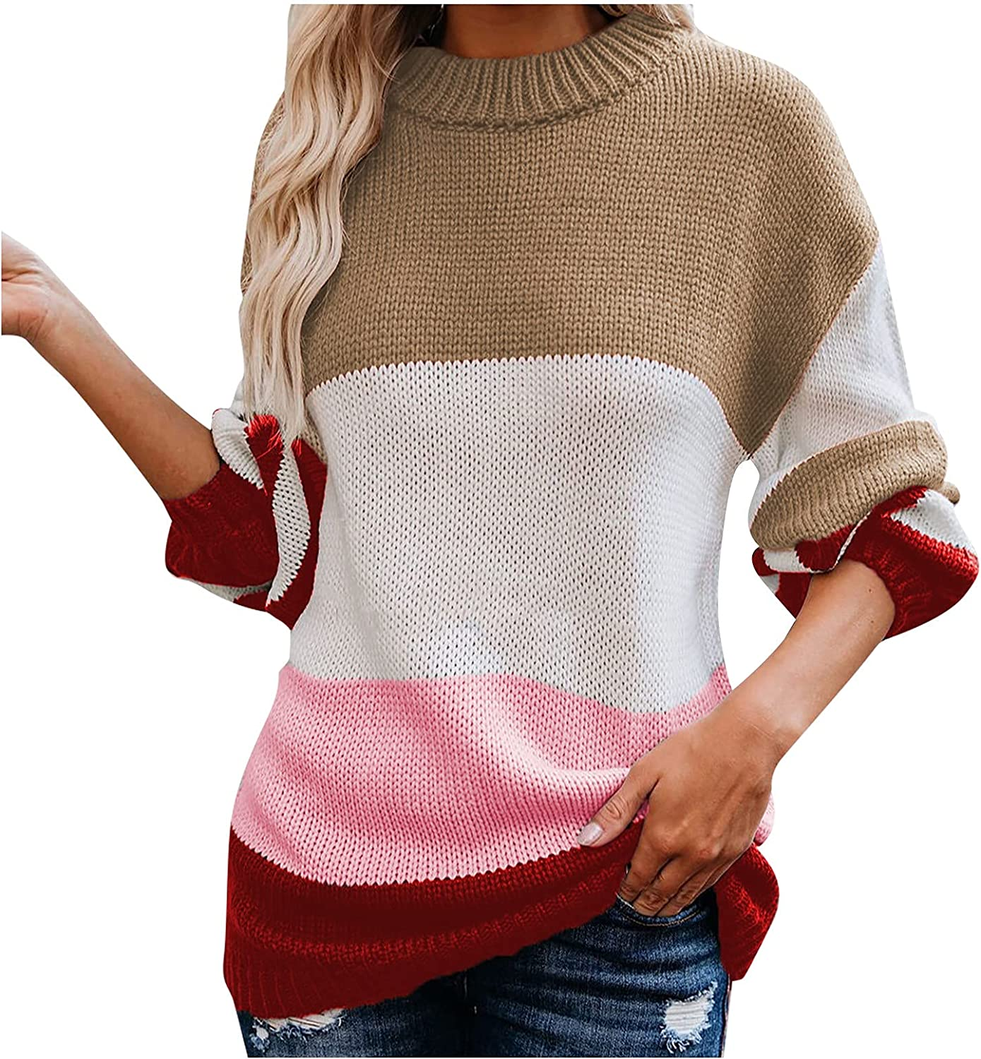 UOFOCO Womens Sweaters Long Sleeve Tops Casual Loose Color Block Striped Patchwork Round Neck Sweater Tee Shirts