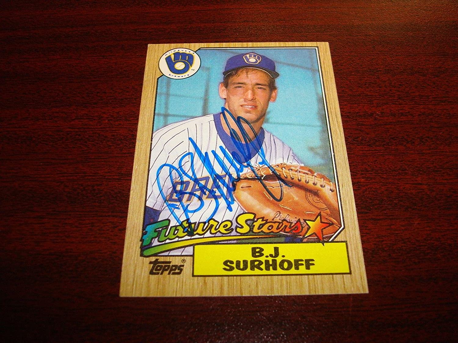 1987 Topps  216 B.J. SURHOFF Brewers Rookie Orioles Signed Autograph Card HS  Autographed Baseball Cards