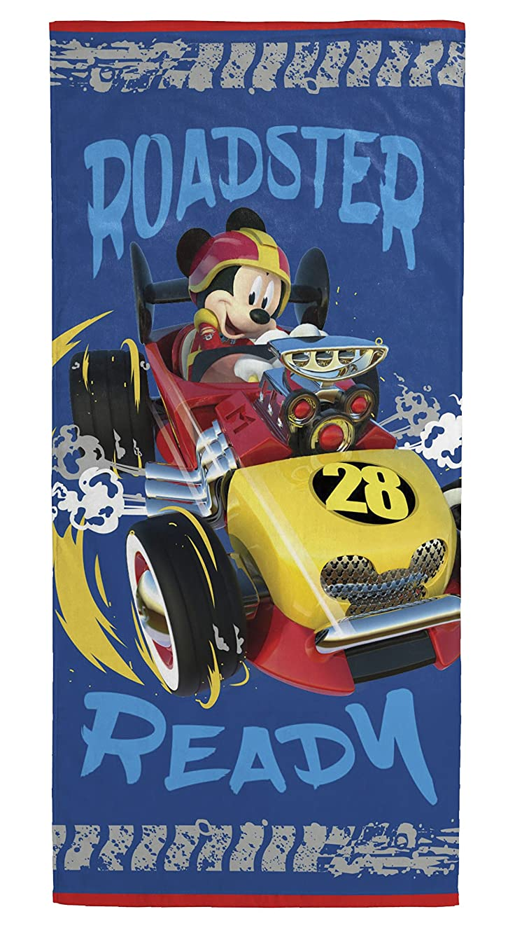 Disney Mickey Mouse Roadster Racer Kids Bath/Pool/Beach Towel - Featuring Mickey Mouse - Super Soft & Absorbent Fade Resistant Cotton Towel, Measures 28 inch x 58 inch (Official Disney Product)