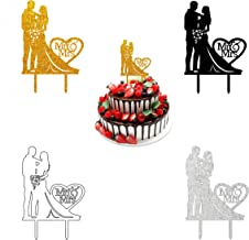 Wedding Cake Topper Mr and Mrs Cake Toppers Custom Retro Wooden Cake Topper with Heart Shape for Wedding Engagement Party Valentine Anniversaries Cake Decorations 4 Pcs
