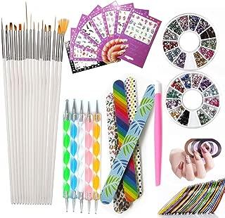 Nail Art Tools Manicure Kit 15PCS Nail Painting Brush 5PCS Nail Dotting Pen 2 Boxes Nails Rhinestones Decoration 8PCS Sticker Decal 10PCS Striping Tape 5PC Nail Files 1PC Stick Pusher Pedicure Set