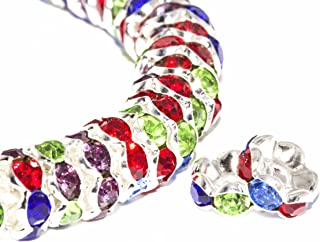 BRCbeads 8mm Silver Plated Crystal Spacer Beads Flower Shape 100pcs per Bag for jewelery Making(#M01 Multicolor)