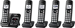 PANASONIC Expandable Cordless Phone System with Call Block and Answering Machine - 5 Cordless Handsets - KX-TGD535M (Metallic Black)