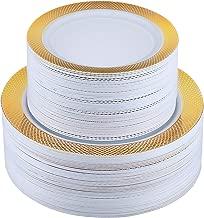 FOCUS LINE 102PCS Gold Plastic Plates, with Grid Rim Design Disposable Plates Heaveyweight Plates for Wedding Party, 51pcs Elegant 10.25 Inch Dinner Plates and 51pcs 7.5 Inch Appetizer Dessert Plates