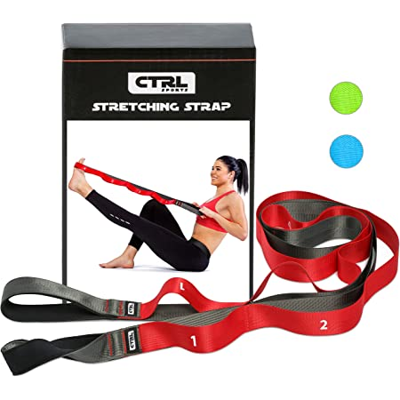 Stretching Strap with Loops for Physical Therapy, Yoga, Exercise and Flexibility - Non Elastic Fitness Stretch Band + Exercise Instructions & Carry Bag by CTRL Sports