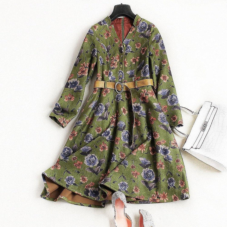 LDQ Autumn and Winter Women Vintage Printing V Collar Dress Skirt with Fashion Belt,Green,L