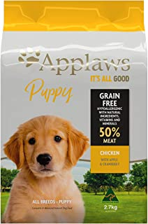 Applaws Puppy Chicken Dry Dog Food, 2.7kg bags (Pack of 4), One Size