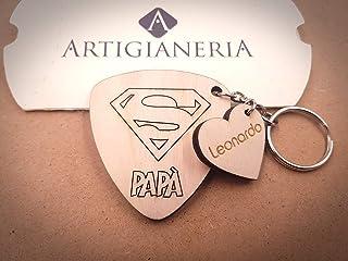 ArtigianeriA - Portachiavi in legno personalizzato, dedicato a tutti i super papà. Realizzato a laser in Italia. Originale...