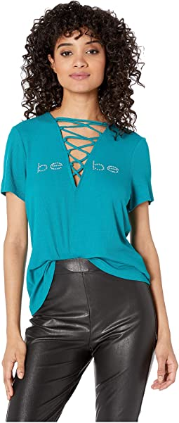 Logo Lace-Up Short Sleeve Top