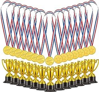 Biubee Pack of 72 Children's Golden Plastic Award Medals Trophy Set- 36Pcs Winner Medals Plus 36 Pcs Trophies for Sports, ...