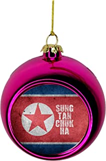 Jacks Outlet Korea Ornament - Korea Christmas Ornament Flag North Korea - Korean - Sung Tan Chuk Ha Ornament Christmas Décor Pink Ball Ornaments