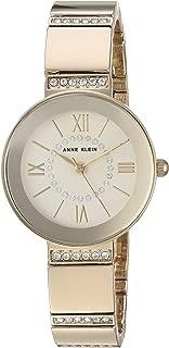 Anne Klein Women's AK/3190CHGB Swarovski Crystal Accented Gold-Tone Bracelet Watch