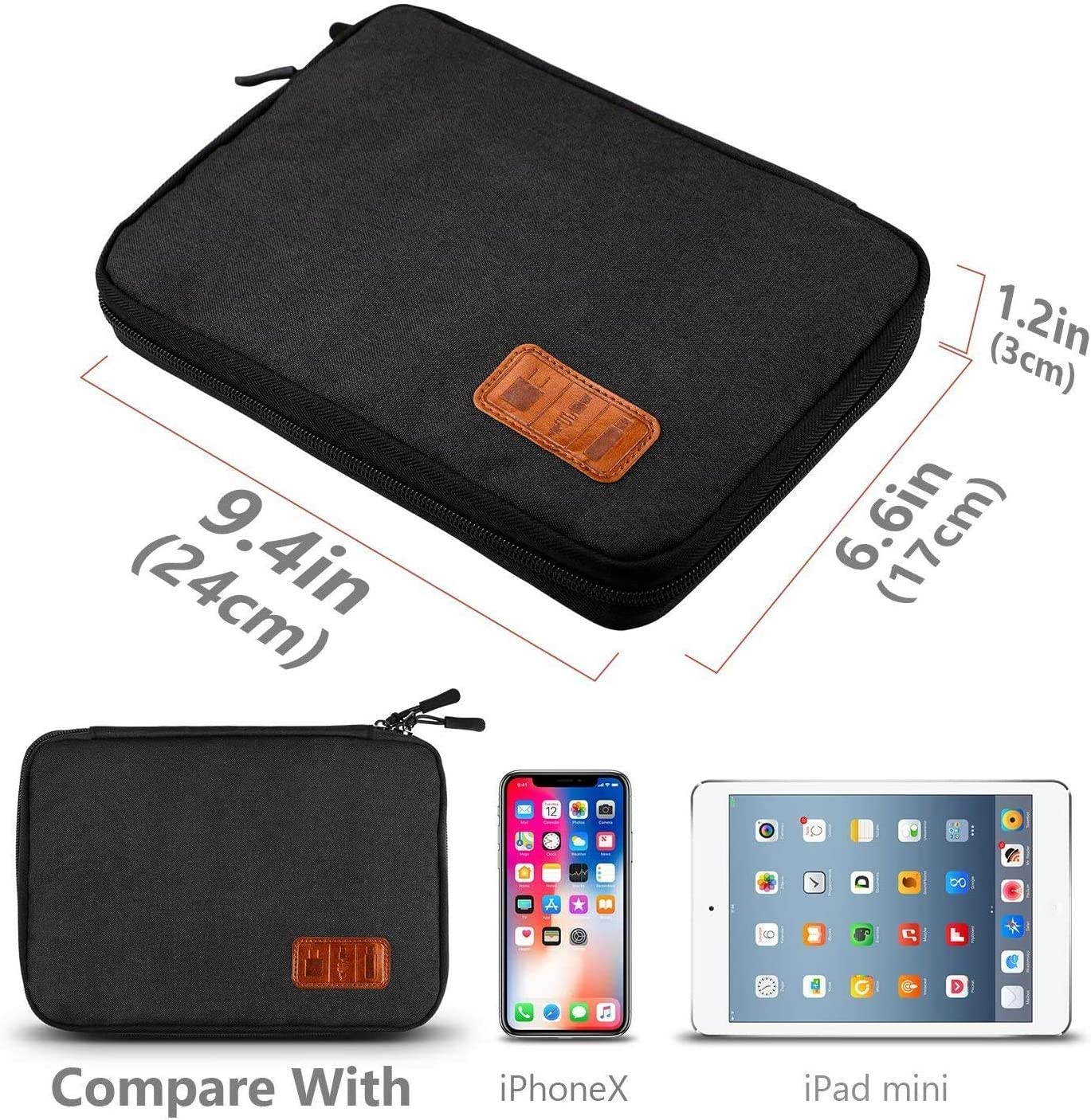 Travel Cable Organizer Bag, T TERSELY Travel Gadget Cables Electronics Accessories Organizer Bag,Portable Tech Gear Phone Accessories Carrying Storage Case Bag for Headphone Earphone USB (Black)