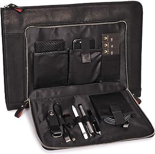 DONBOLSO Notebook Sleeve London 15,6 Zoll Leder I Aktentasche aus Echtleder für Herren und Damen schwarz