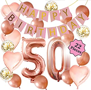 50th Birthday Decorations - Birthday Decorations: 40 Inch 50th Rose Gold Balloons, Pink and Gold Happy Birthday Decorations for Women, Happy Birthday Banner, Confetti Balloons, Rose Gold Heart Balloons (22 Pieces)