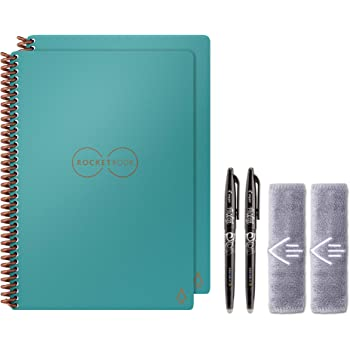 "Rocketbook Holiday Bundle - 2 Smart Reusable Notebook Set with 1 Lined & 1 Dot Grid Notebook, 2 Pilot Frixion Pens & 2 Microfiber Cloths - Neptune Teal Cover, Executive Size (6"" x 8.8"")"