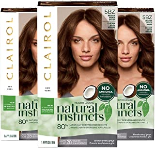 Clairol Natural Instincts Semi-Permanent, 5BZ Medium Bronze Brown, Hot Cocoa, Pack of 3