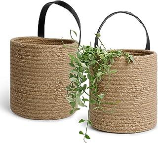 POTEY 710207 2pack Jute Rope Woven Hanging Basket - 7.08 x 7.87 Large Woven Fern Hanging Storage Basket Bin for Flower Pla...