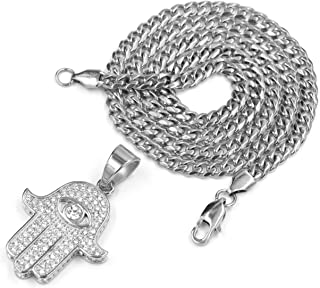316L Stainless Steel Silver Ancient Hands of Hamsa Pendant w/Cuban Chain