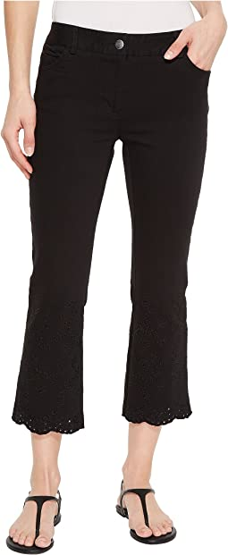 Five-Pocket Crop Jeans with Eyelet Hem in Black
